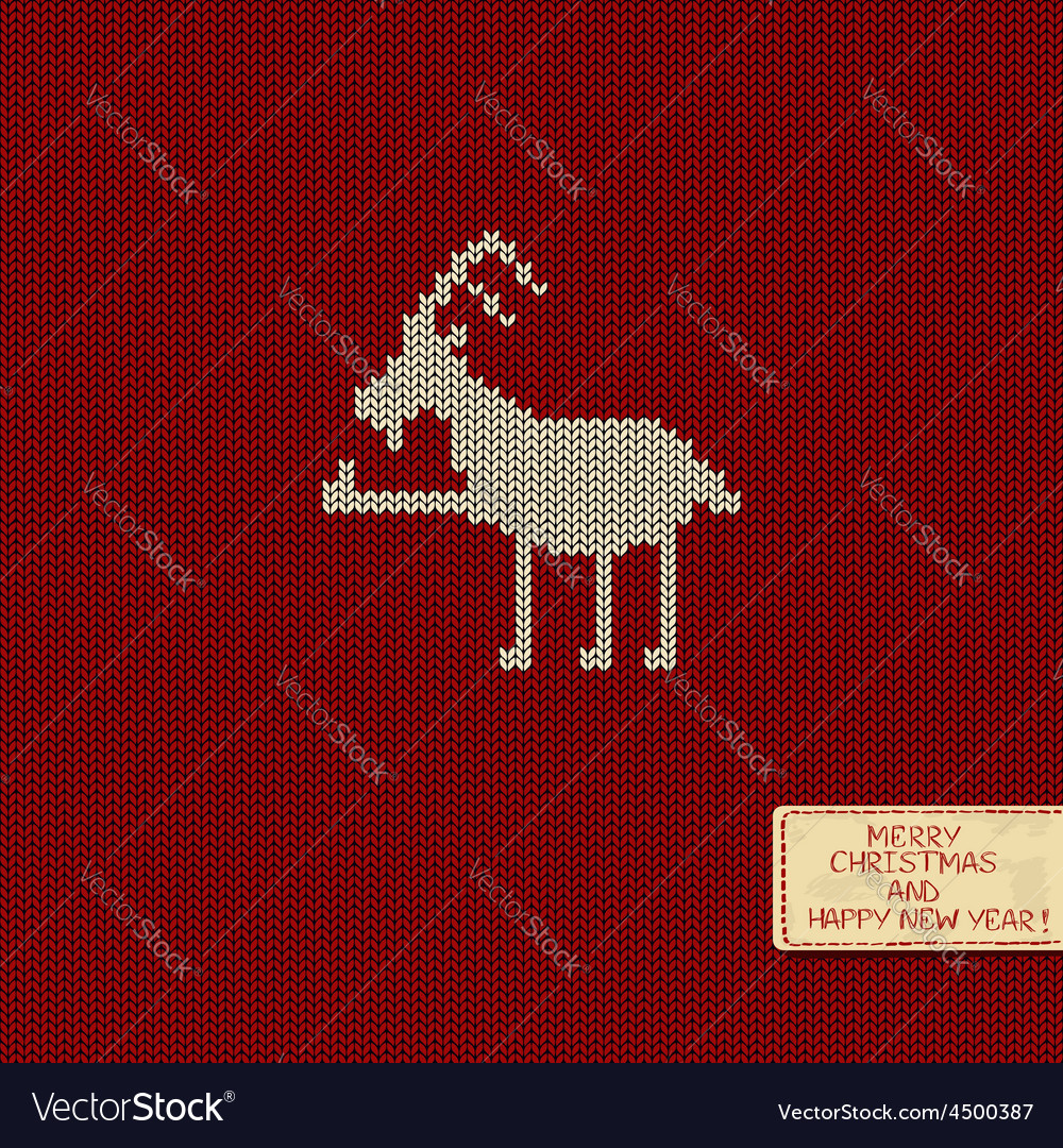 Knitted pattern card with funny goat Royalty Free Vector