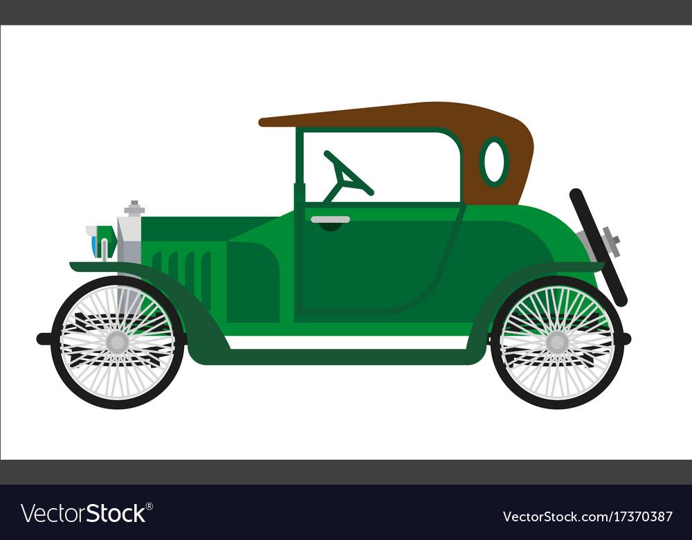 Old car or vintage retro collector green auto Vector Image