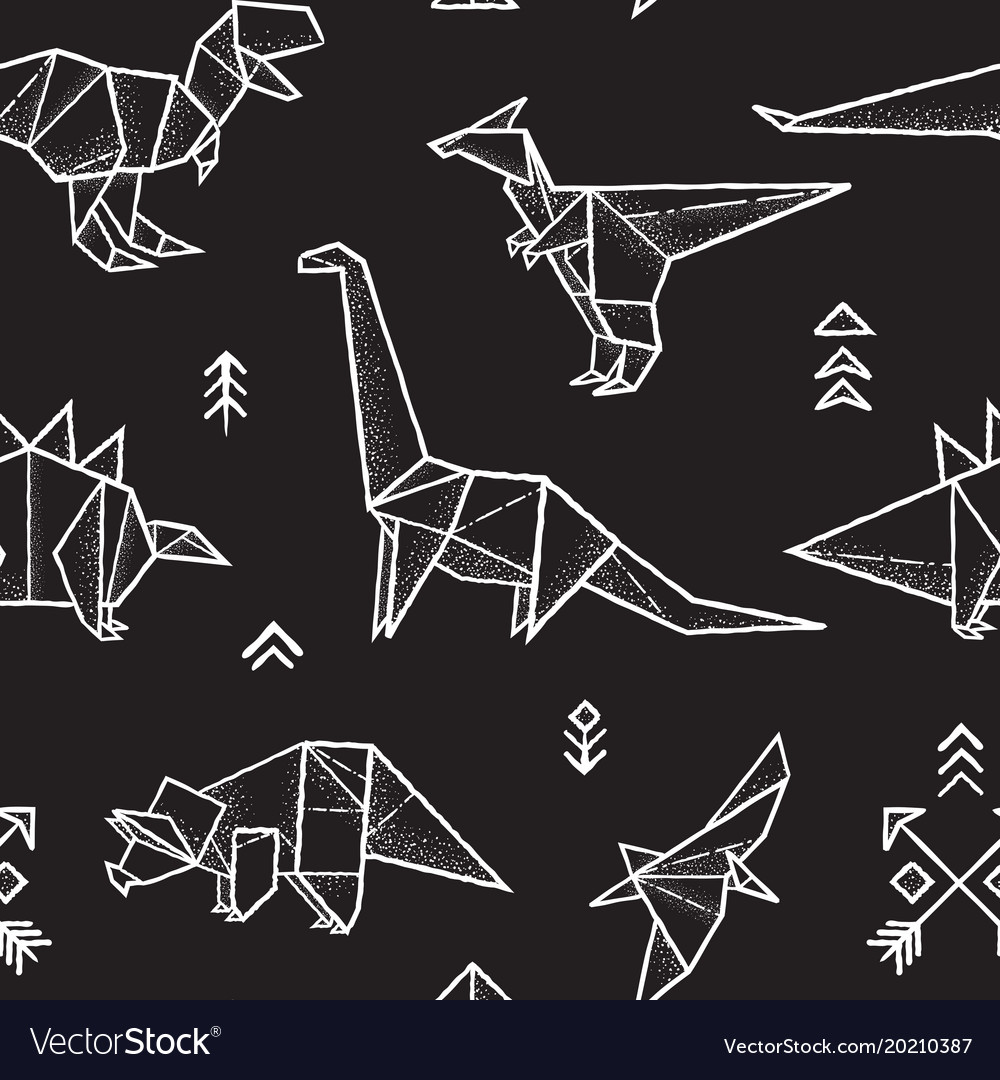 Origami dinosaurs seamless pattern in black and vector image