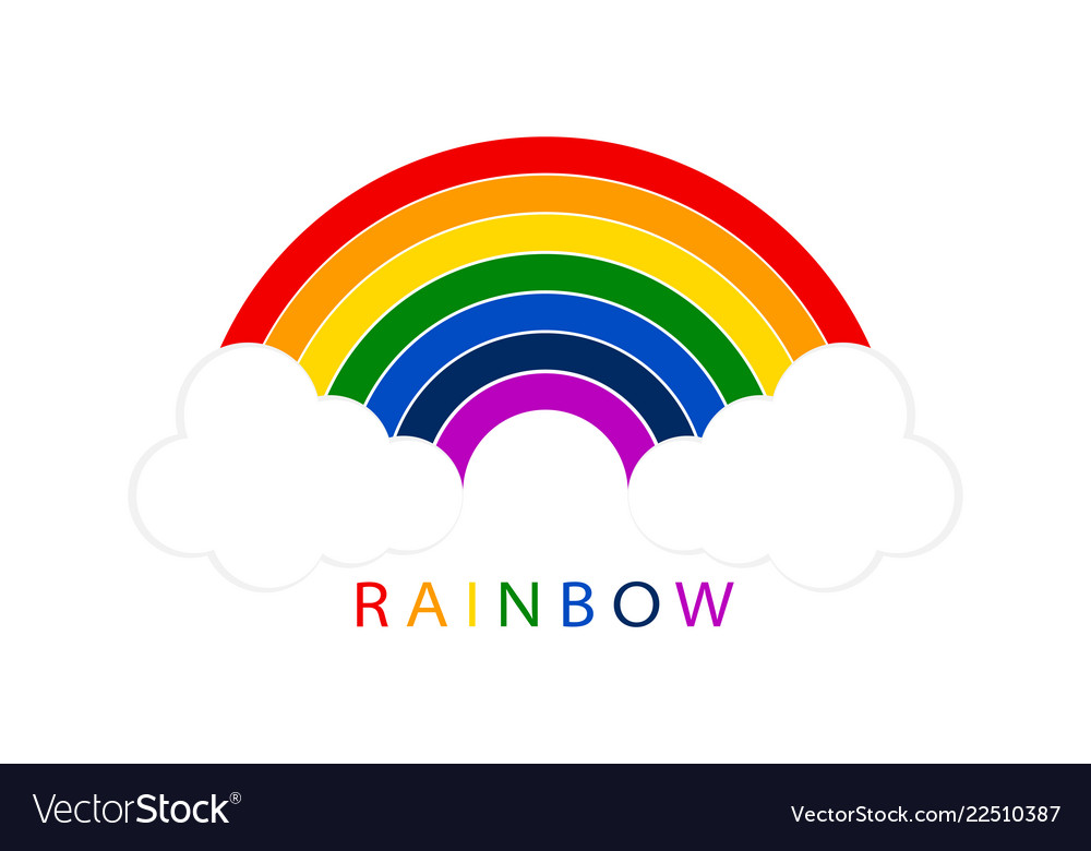 Rainbow with white clouds on blank background for