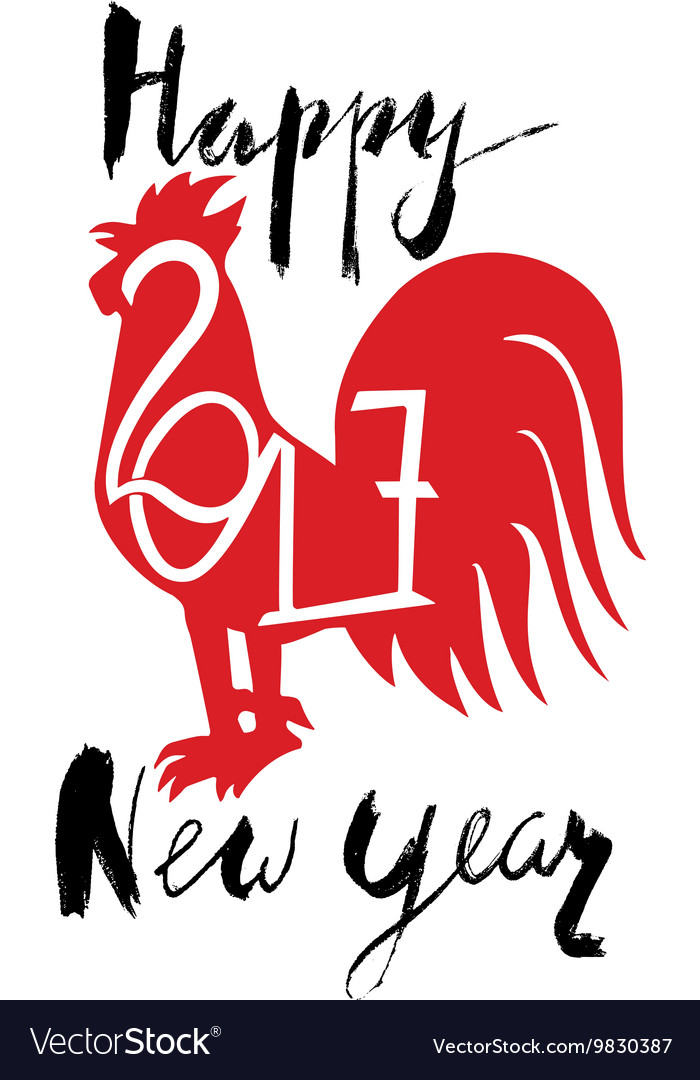 Red Rooster As Animal Symbol Of Chinese New Year Vector Image