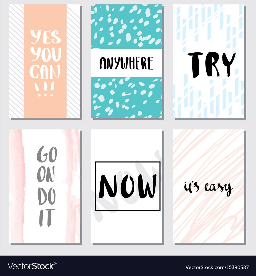 Set motivation card lettering for poster
