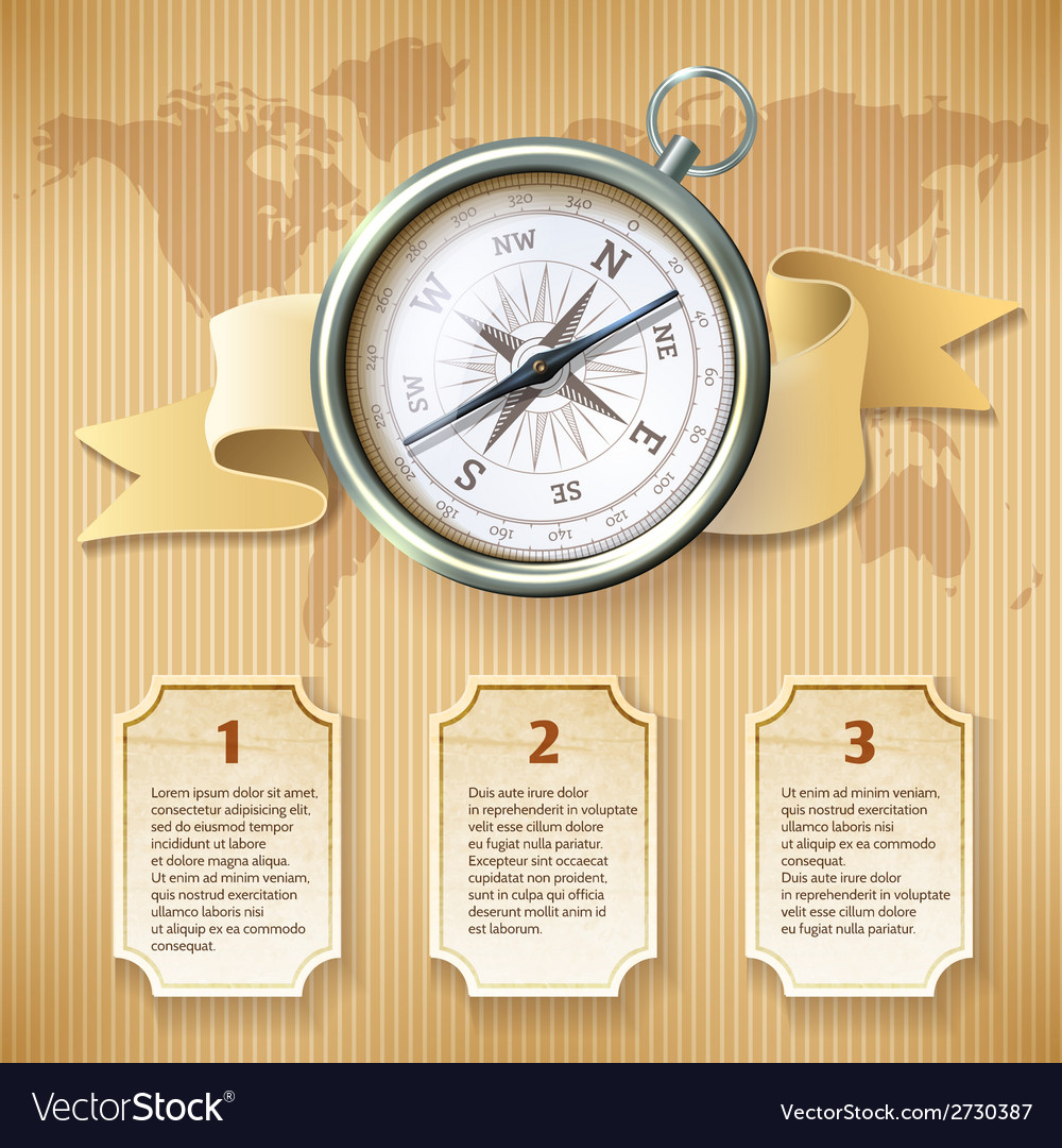 Silver compass infographic vector image