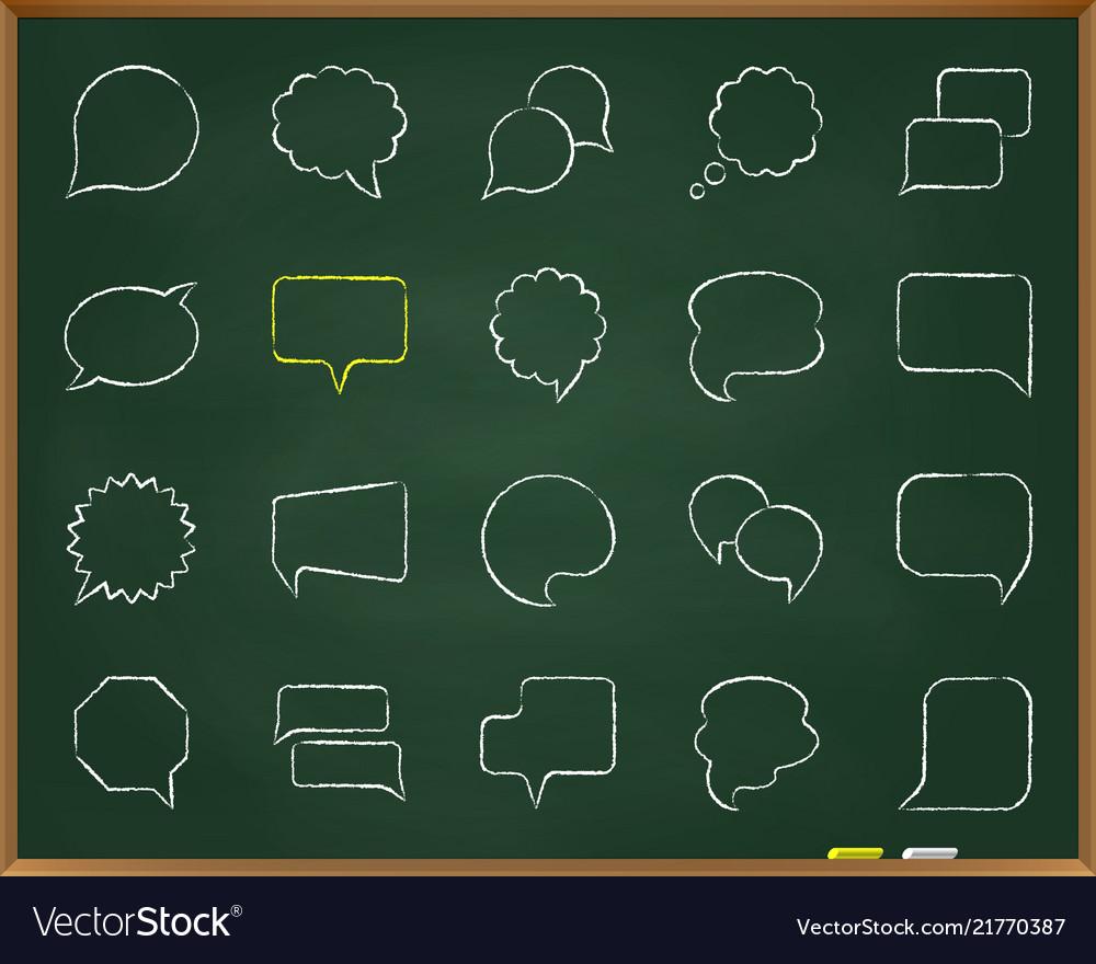 Speech bubble chalk draw line icons set