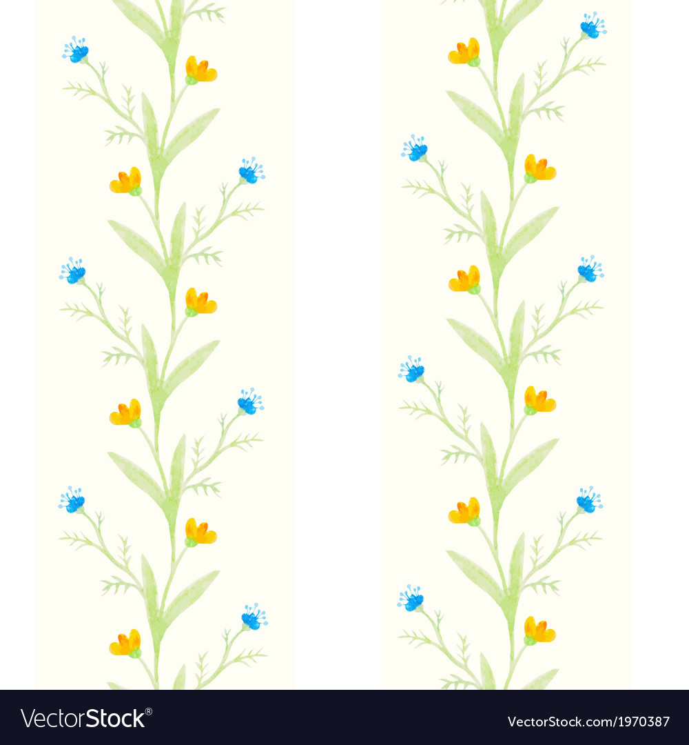 Watercolor flowers spring seamless pattern