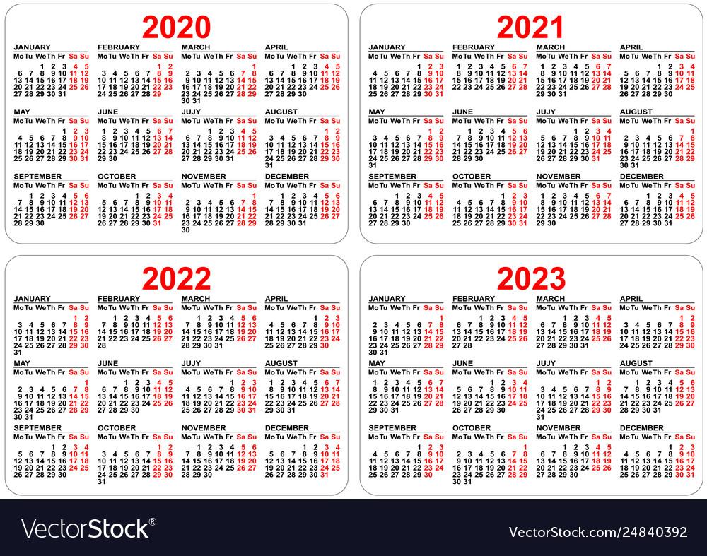2022 2023 Pocket Calendar.2020 2021 2022 2023 Years Set Pocket Calendar Vector Image