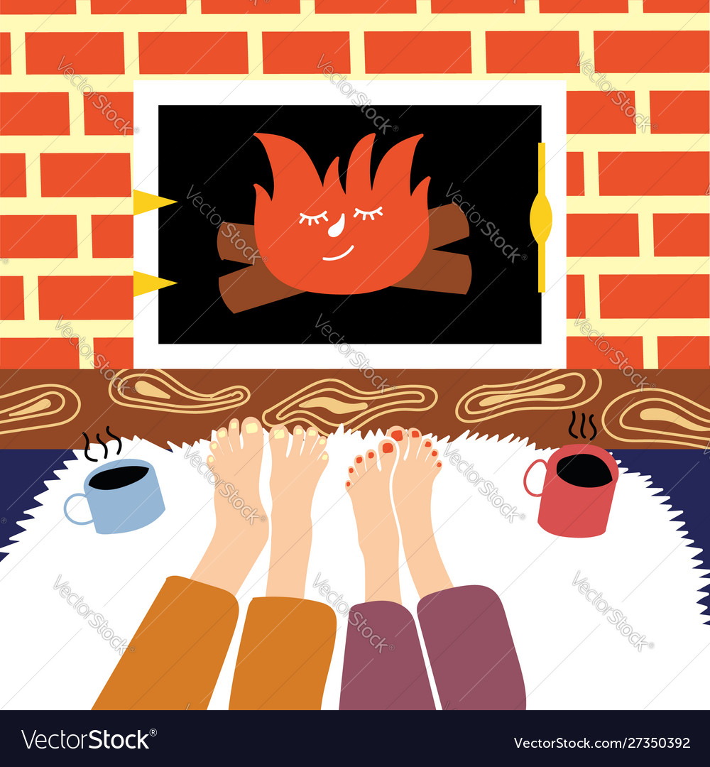 a young couple is warming their feet royalty free vector a young couple is warming their feet royalty free vector