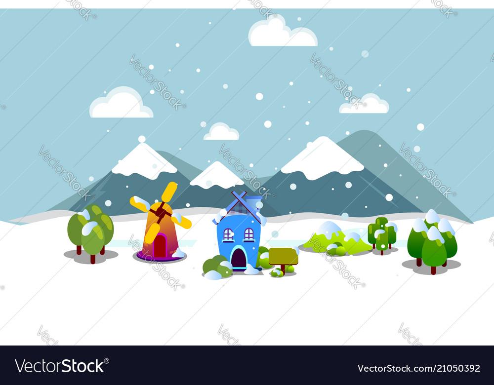 Beautiful winter flat design style