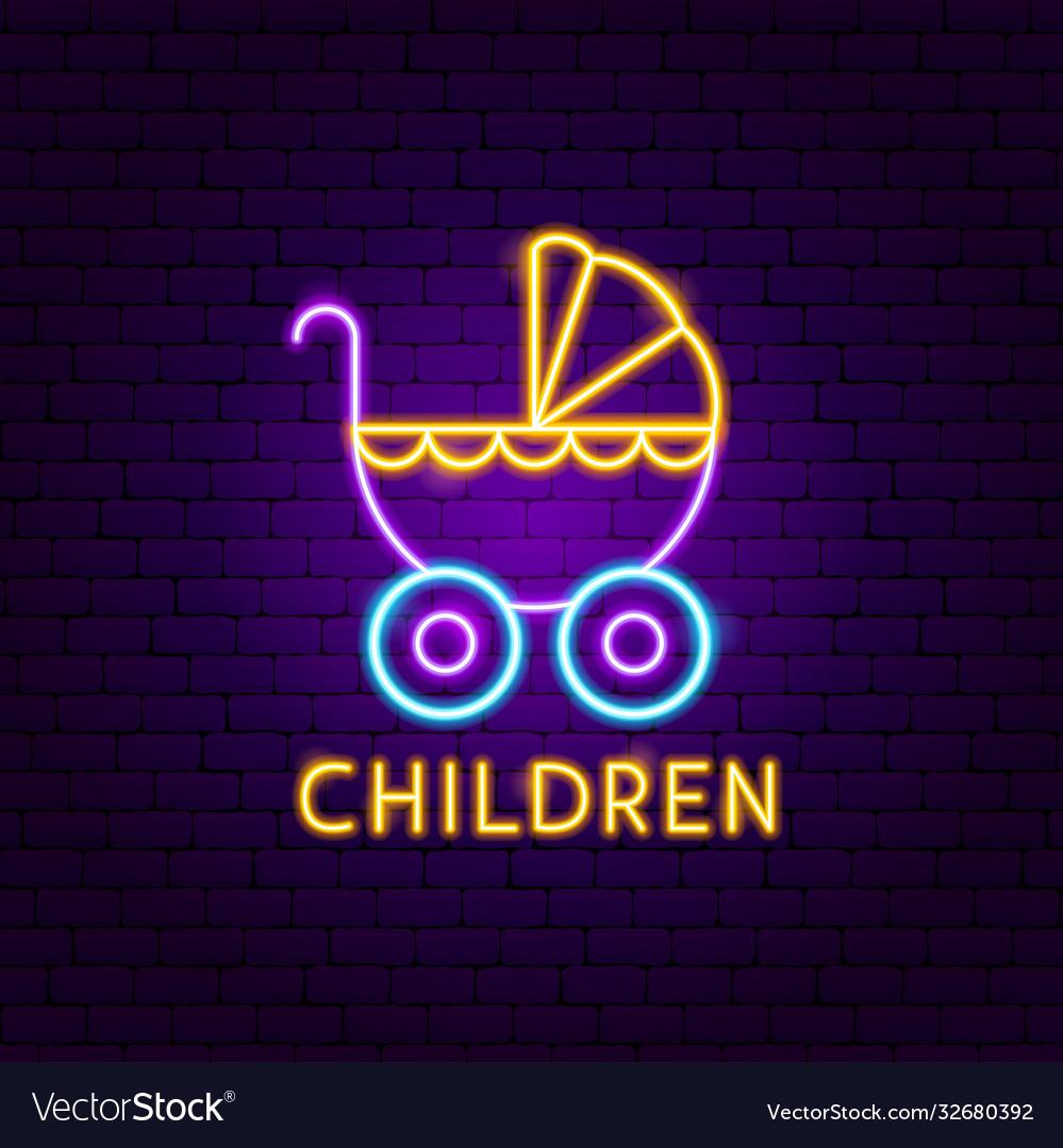 Children neon label