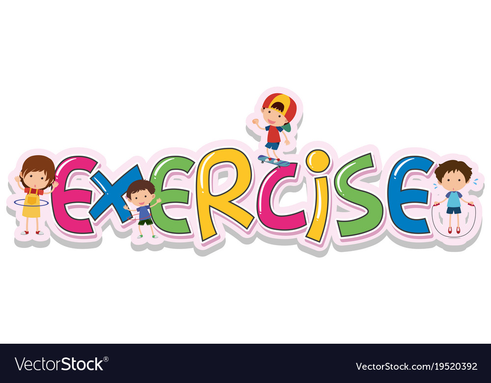 Font Design For Word Exercise Royalty Free Vector Image