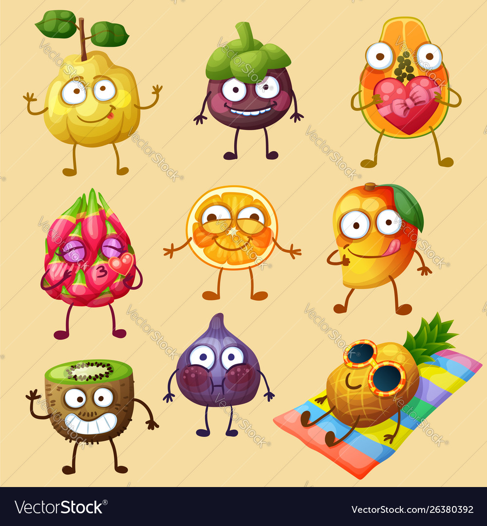 Funny fruit character isolated on white background