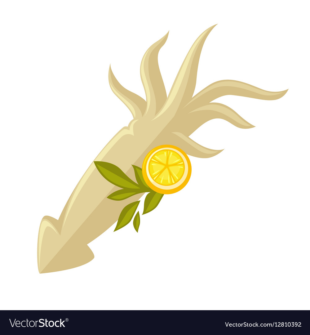 Icon of squid with lemon vector image