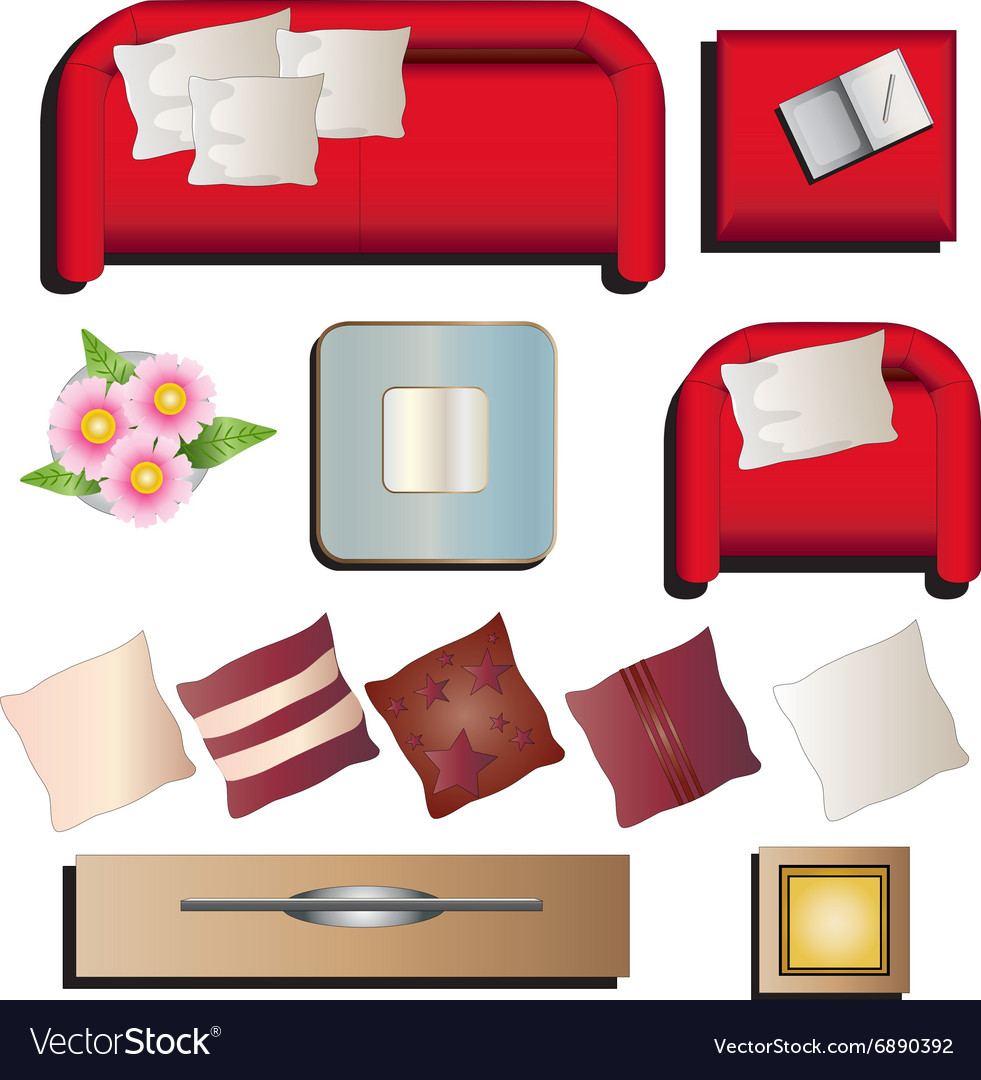 Vector Of Living Room Stock Vector Image Of Sofa: Living Room Furniture Top View Set 10 For Interior