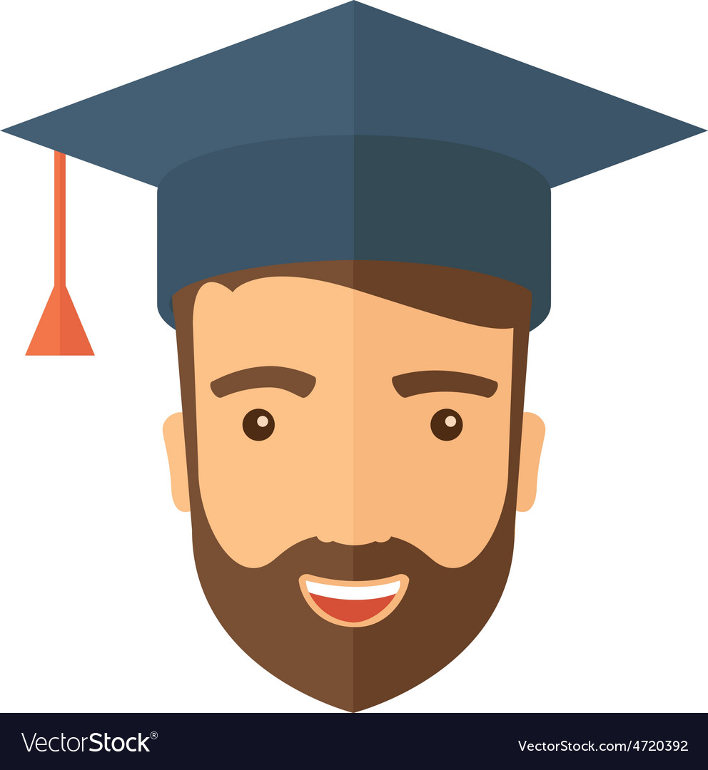 Male head with graduation cap vector image