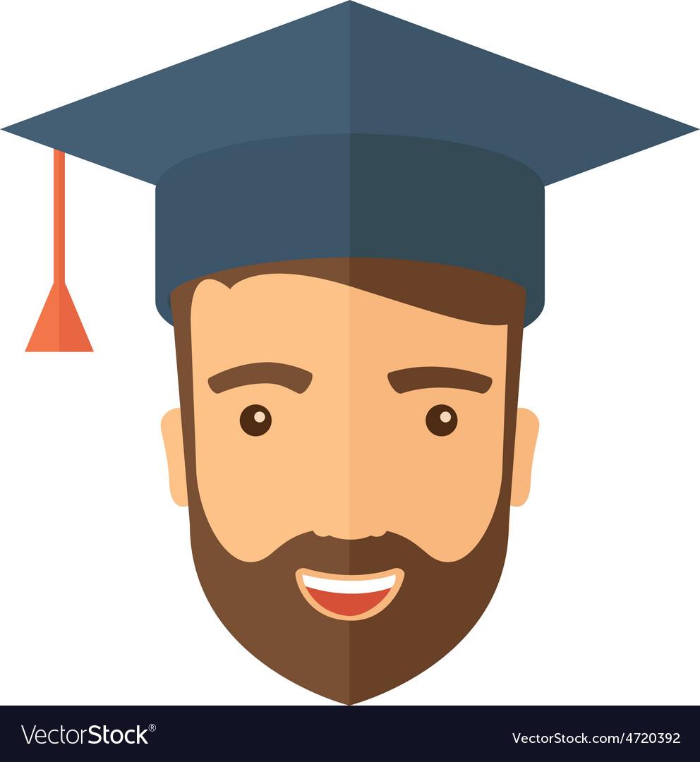Male head with graduation cap