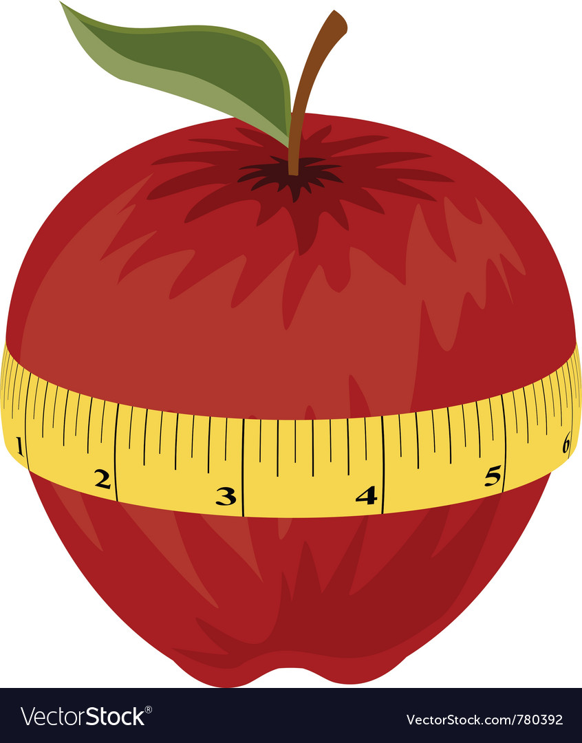 Measuring tape around red apple vector image