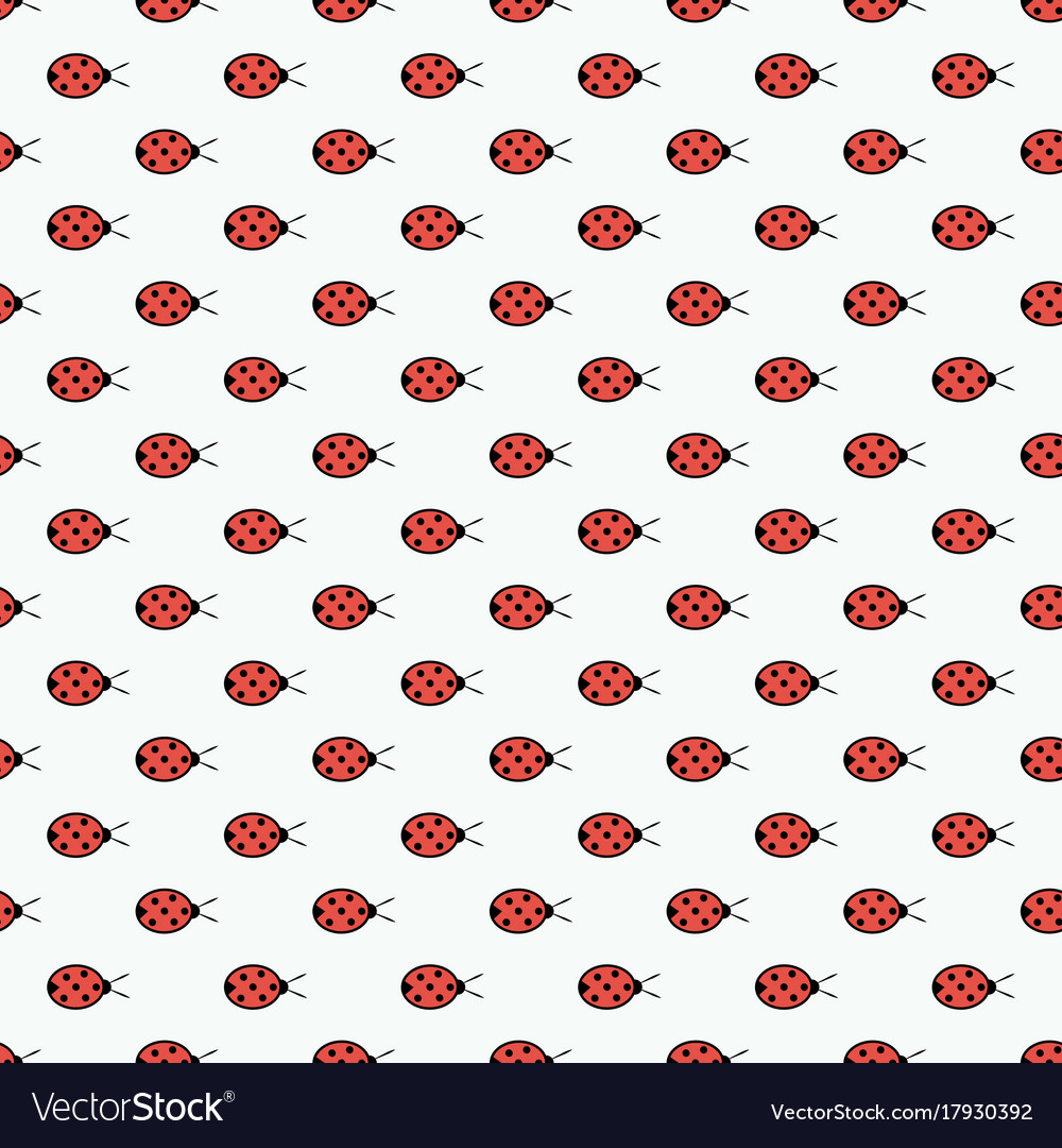 Seamless pattern with ladybugs isolated on white vector image