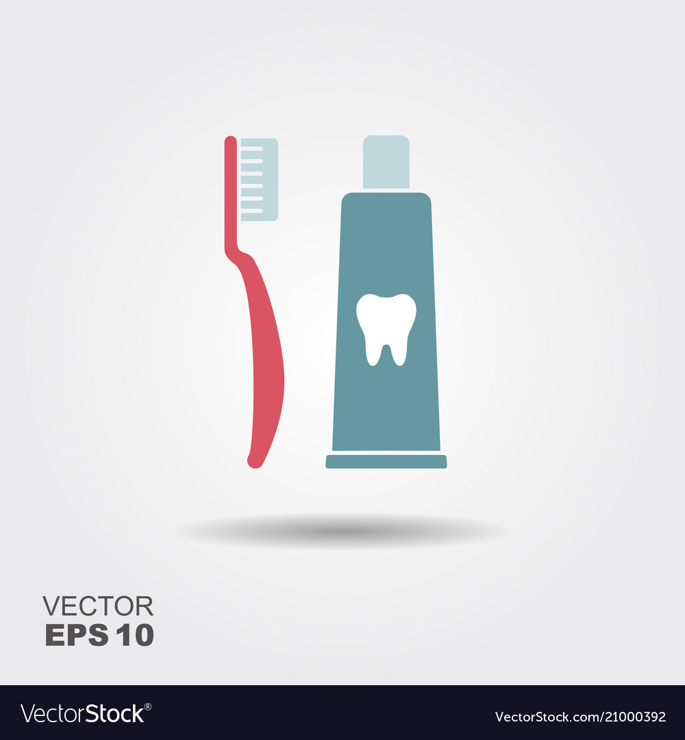 Toothbrush with toothpaste flat icon