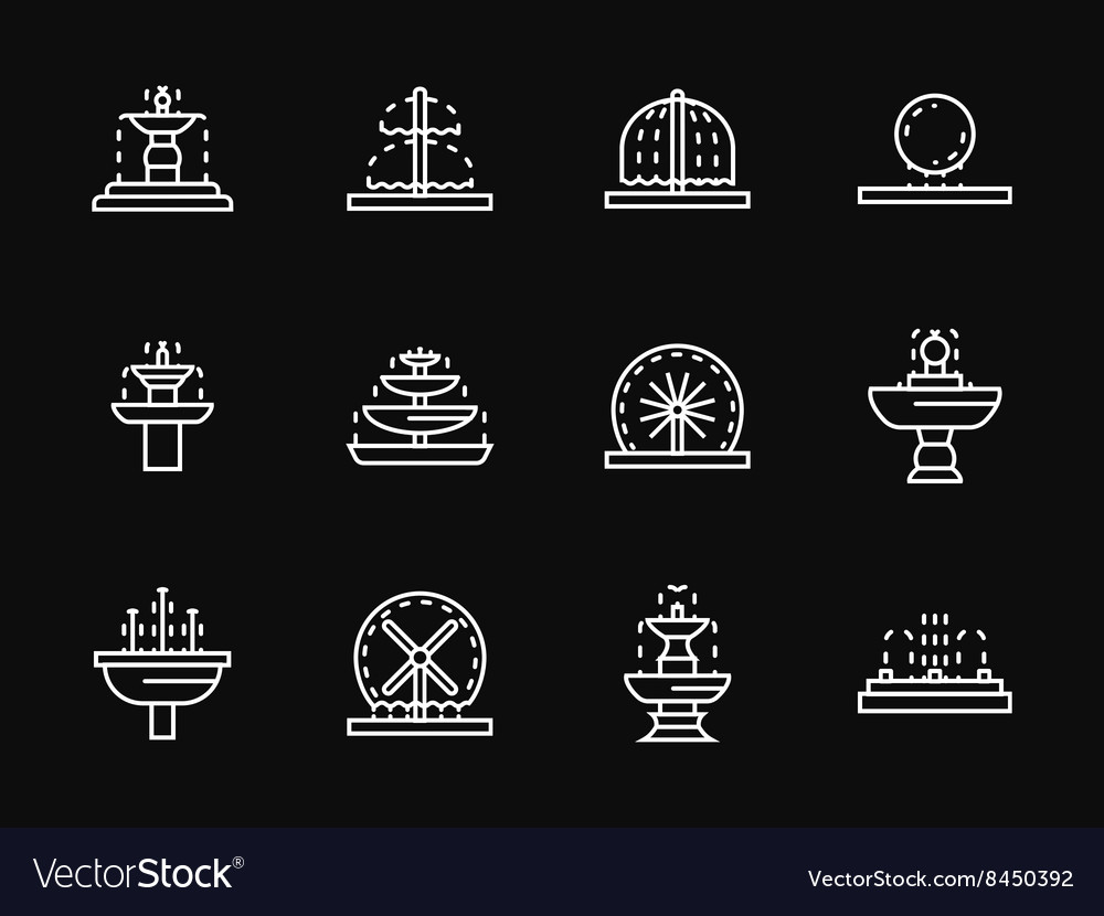 White line fountains architecture icons