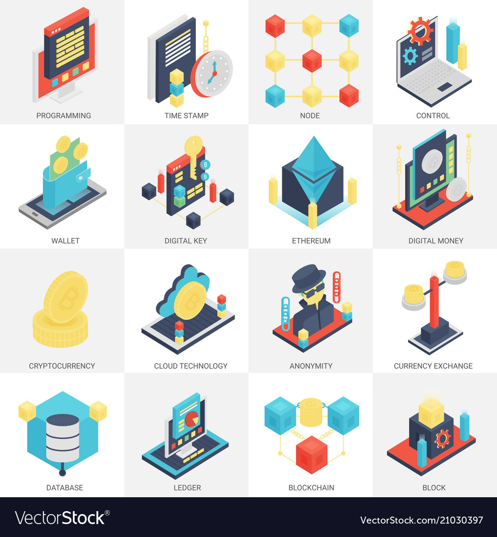 3d isometric cryptocurrency mining and