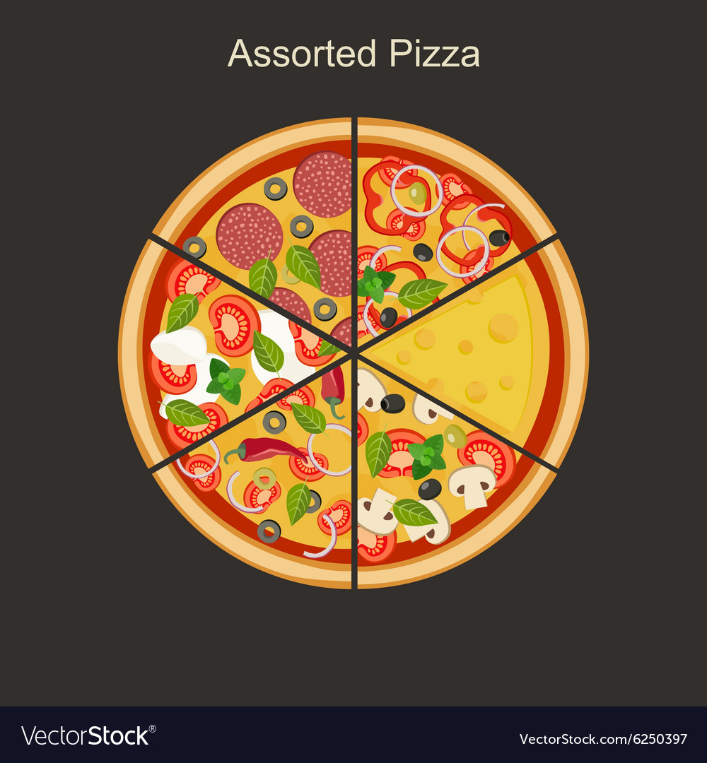 Assorted pizza