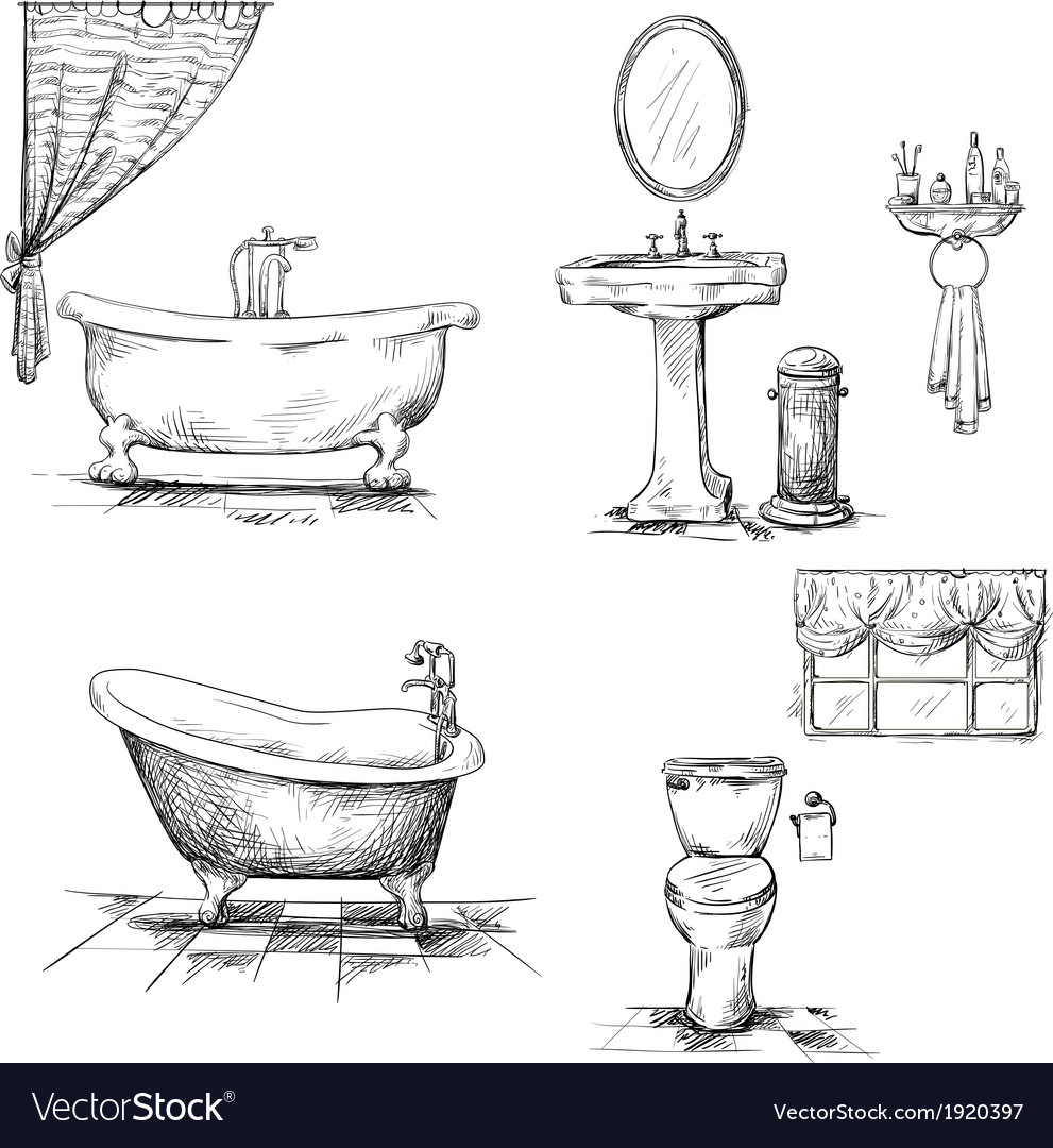 Bathroom interior elements hand drawn