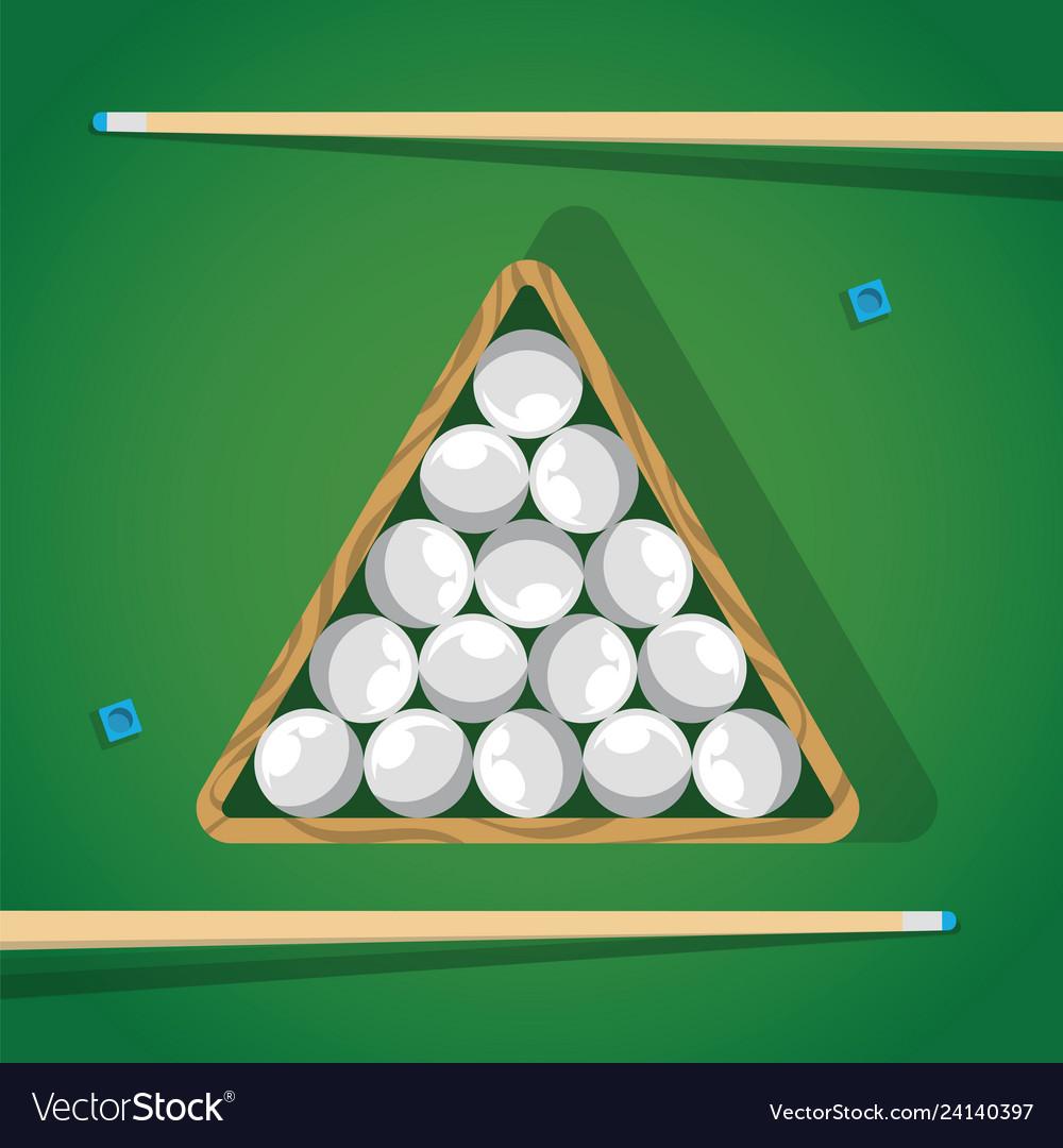 Billiard stick and white pool balls in triangle on