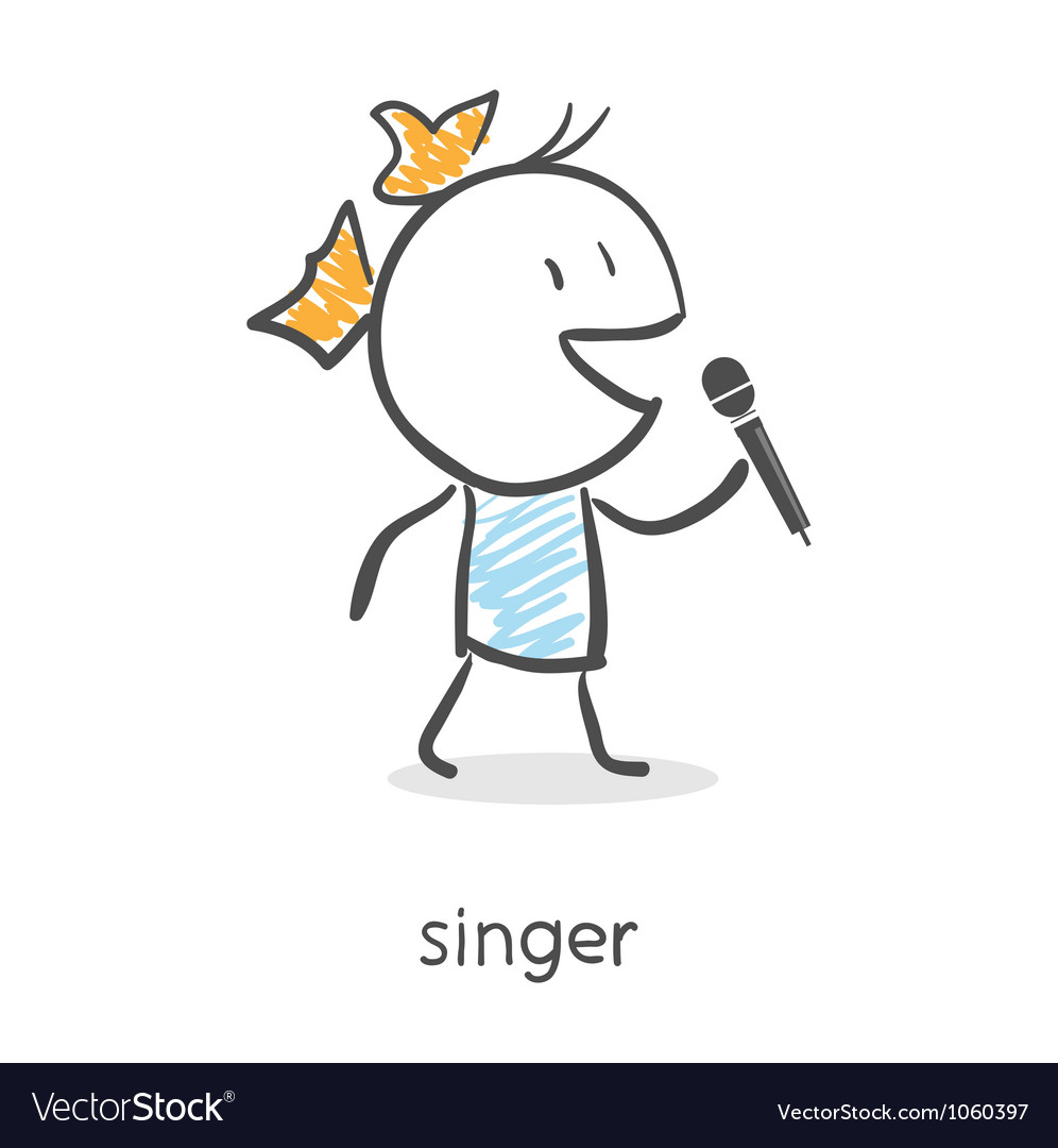 Cartoon girl singing into a microphone vector image
