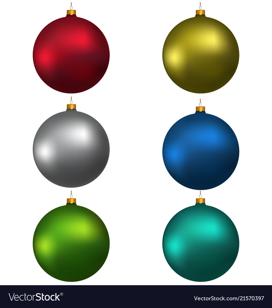 Colorful christmas balls red blue green gray