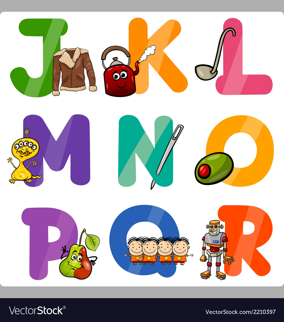 education cartoon alphabet letters for kids vector image vectorstock