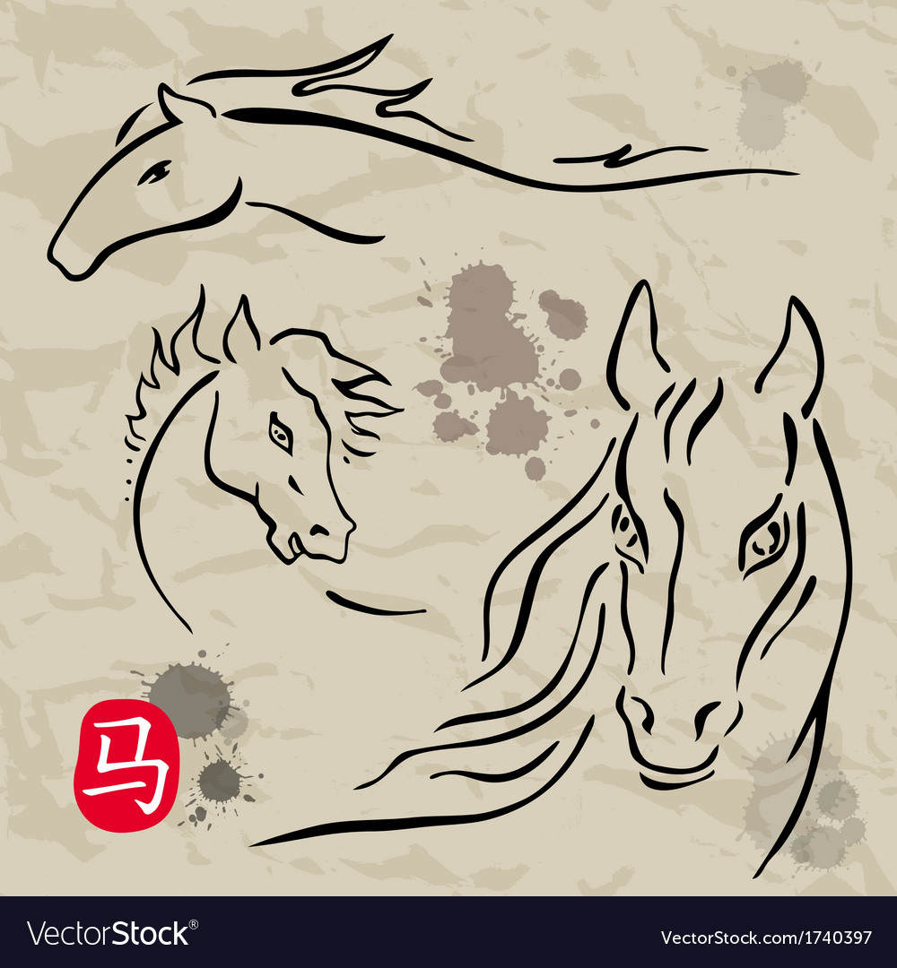 Horses symbols collection chinese zodiac 2014