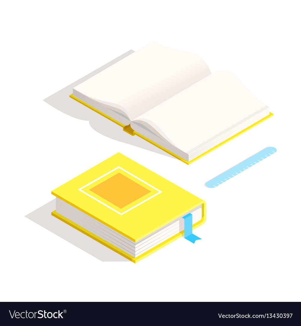 Isometric book icon in flat design style vector image