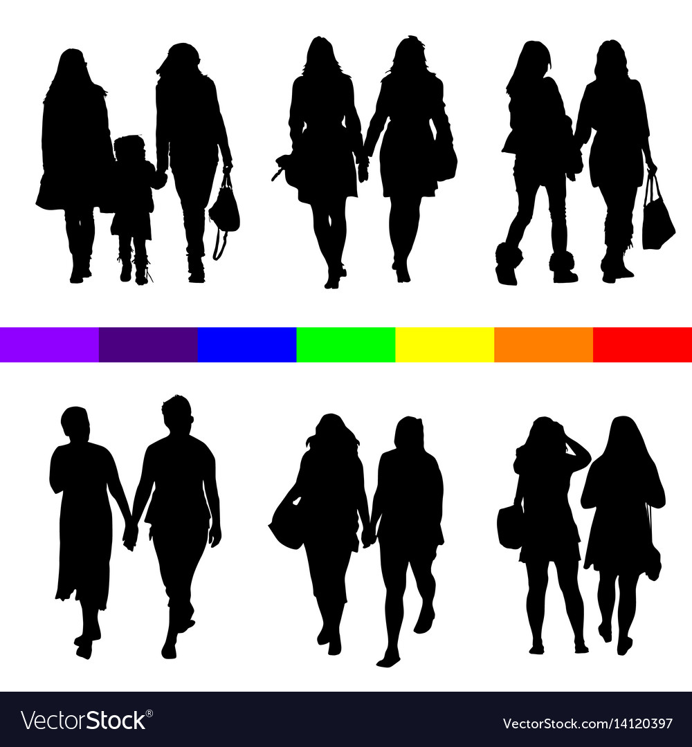 Lesbian couple silhouette set in black