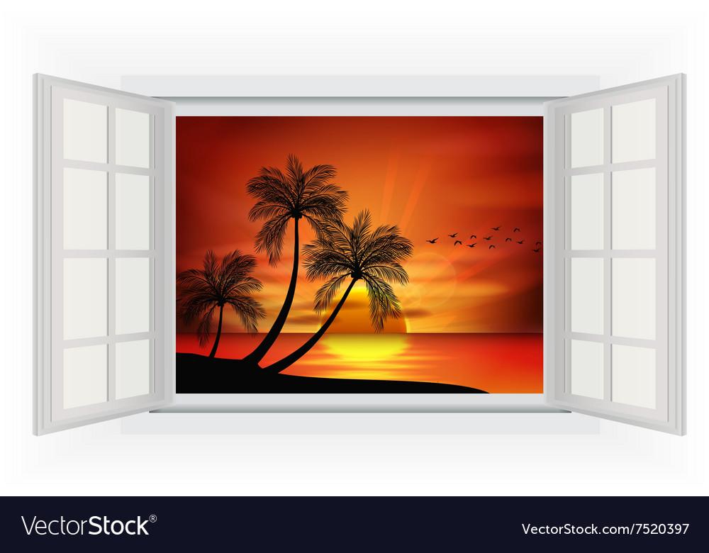 Open window of sunset background on beach