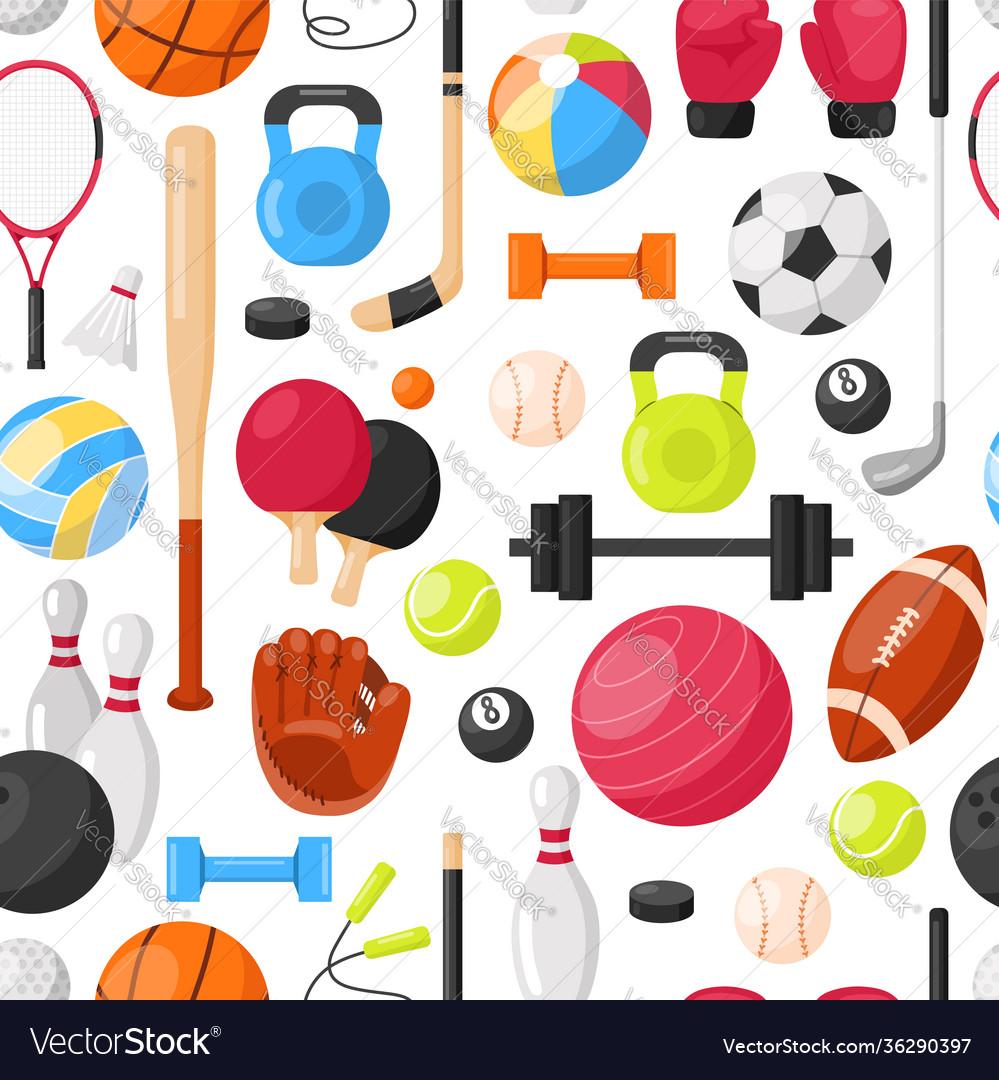 Sport equipment seamless pattern