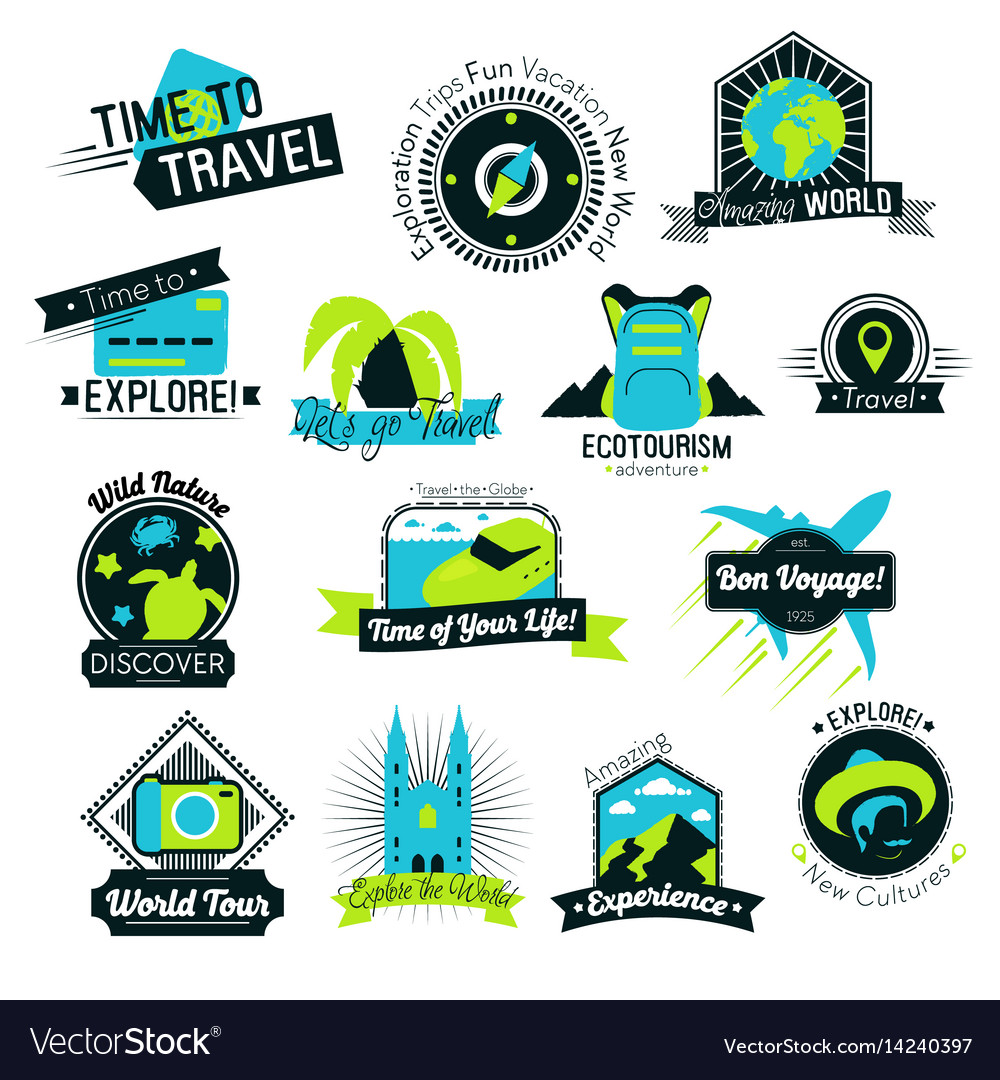 Time to travel hand drawn logos vector image