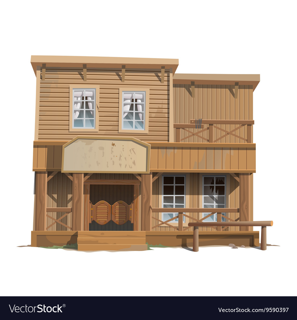 Wooden classic saloon in wild west