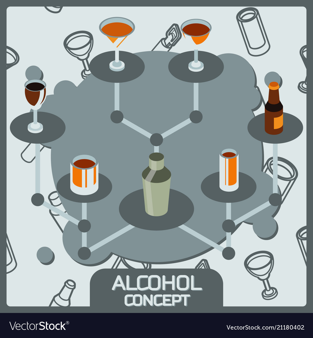 Alcohol color concept isometric icons