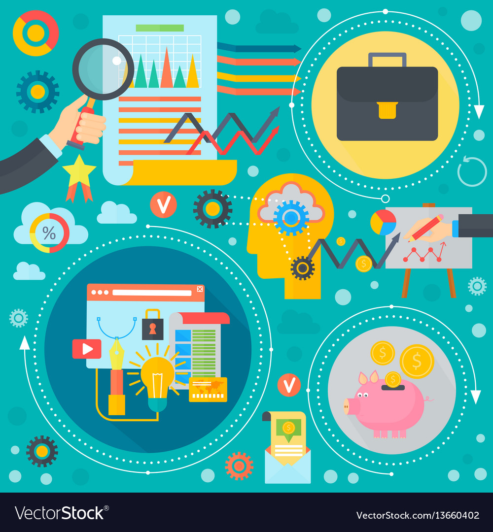 Business and finance flat concept business vector image