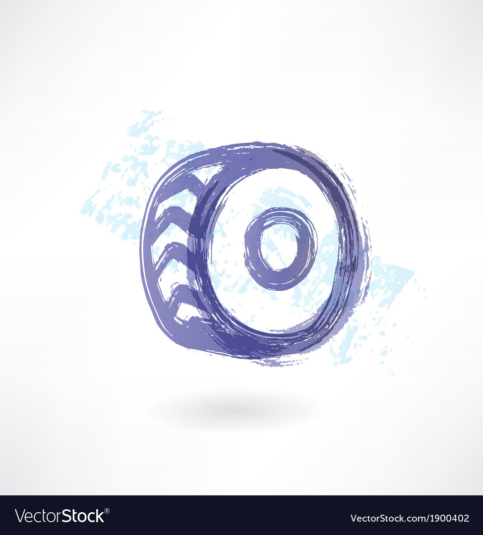 Car wheel grunge icon