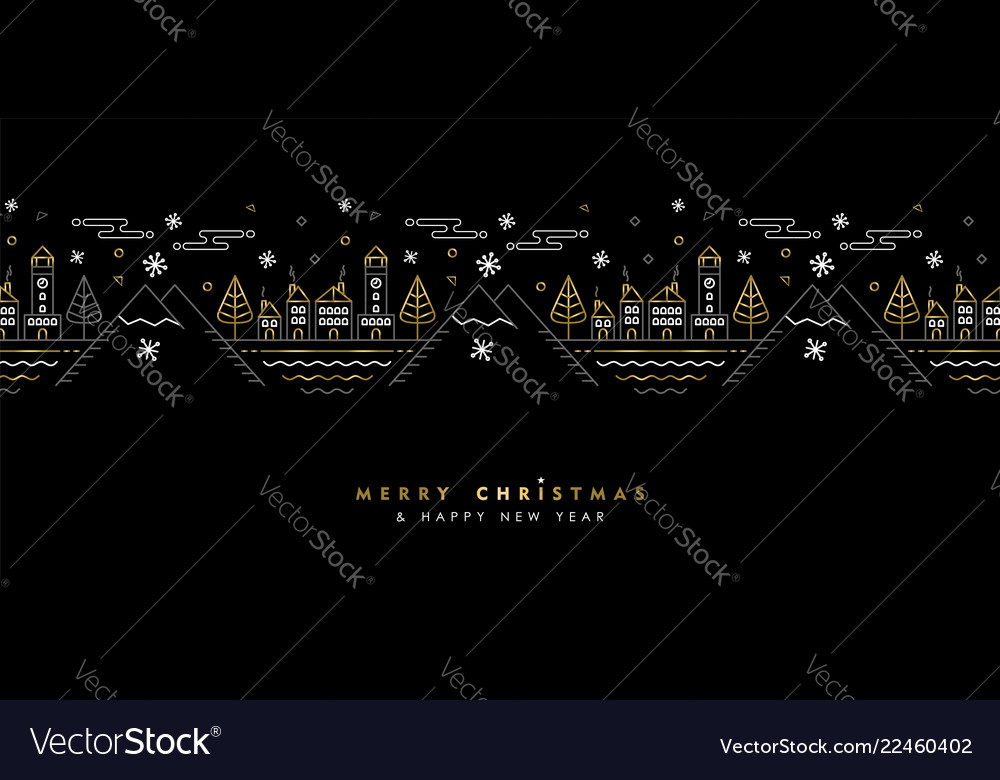 Christmas and new year gold outline greeting card
