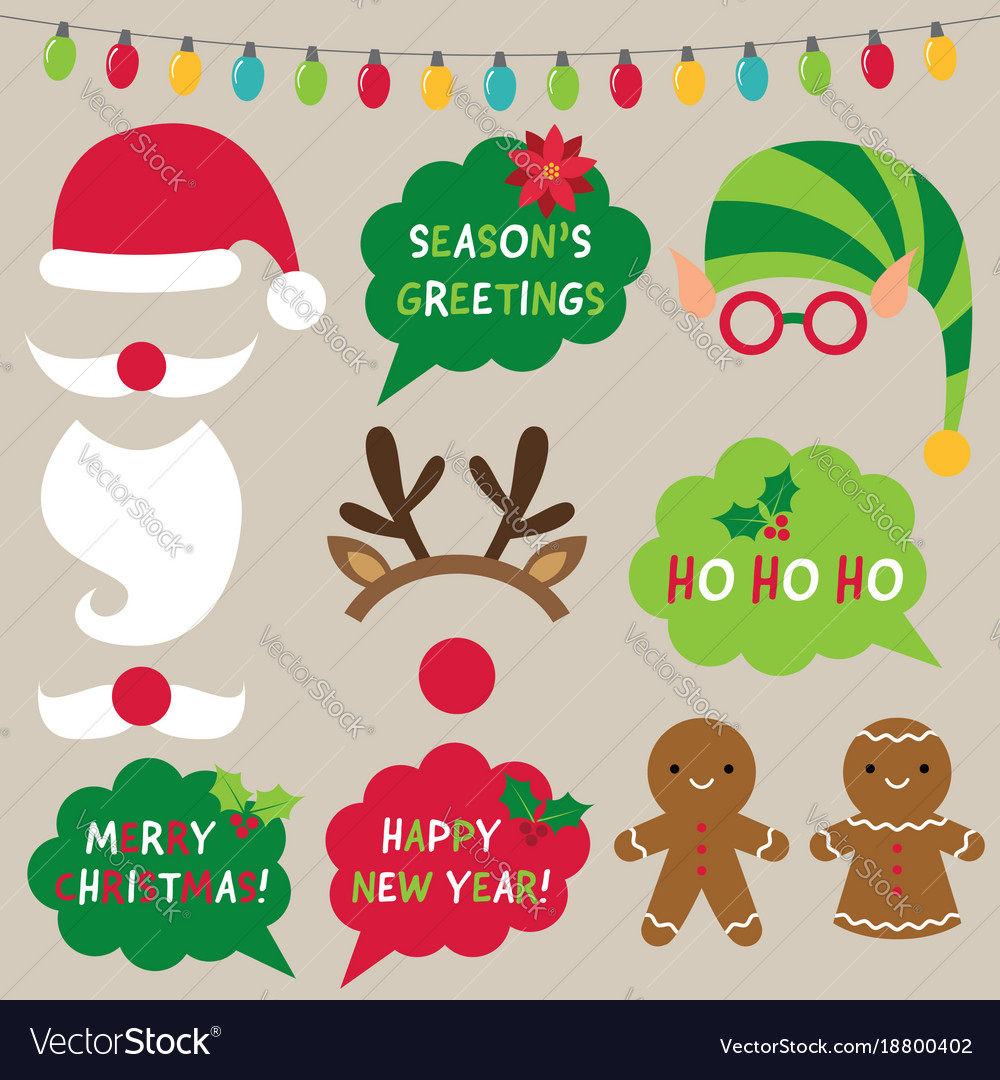 christmas decoration and photo booth props vector image