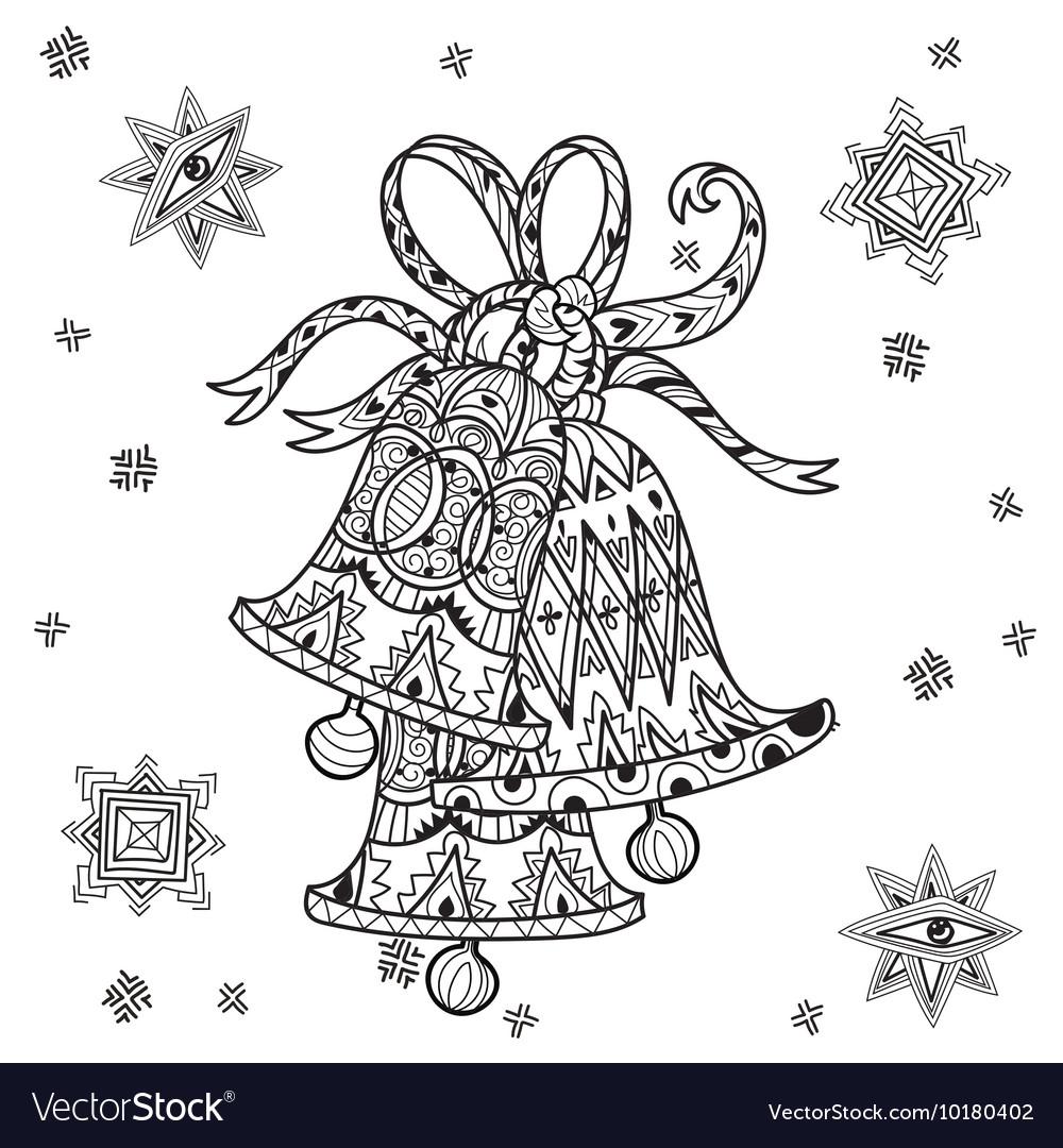 Cute Fairy Doodle Christmas Bells Vector Image