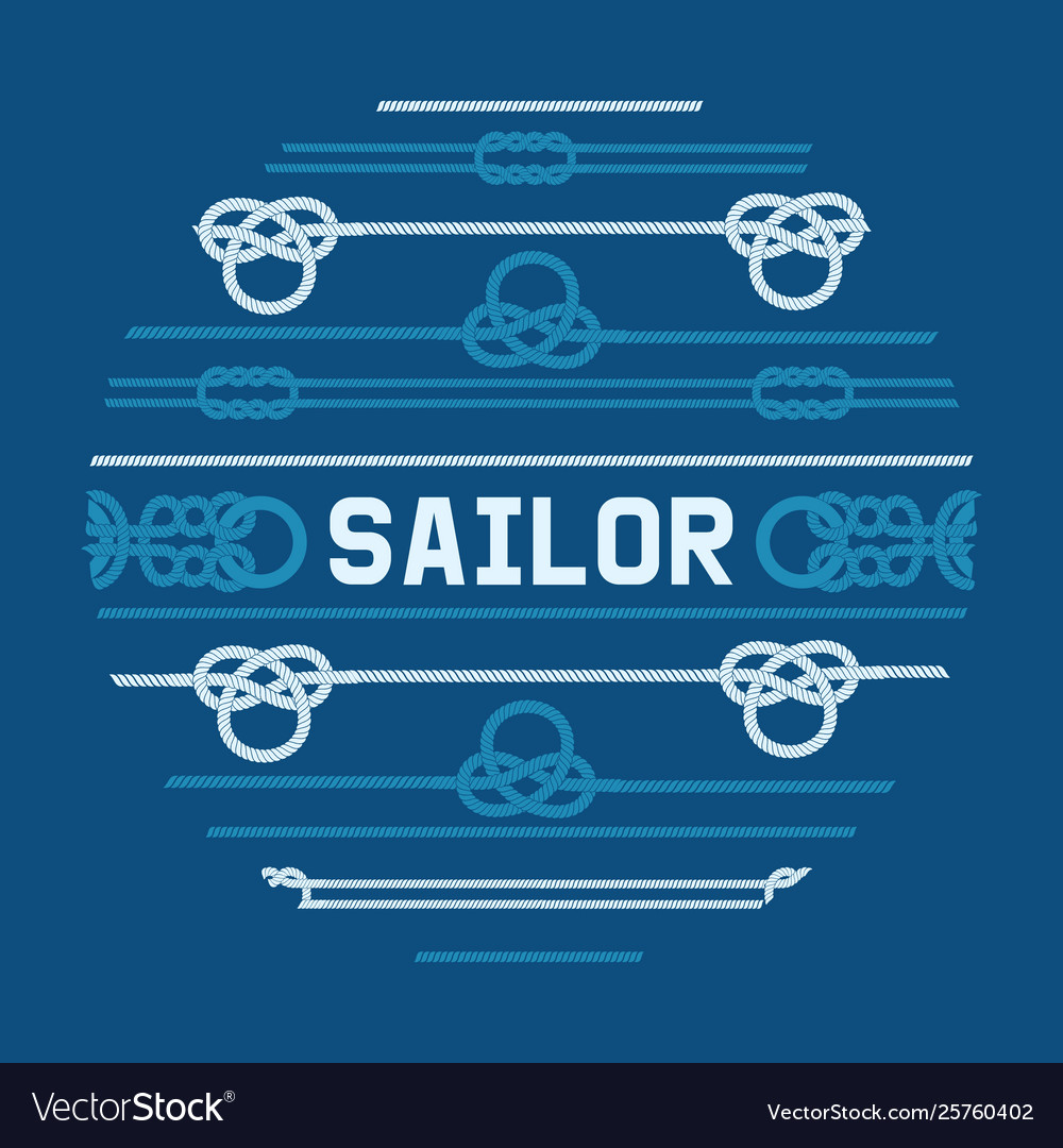Different nautical sailor knots and ropes