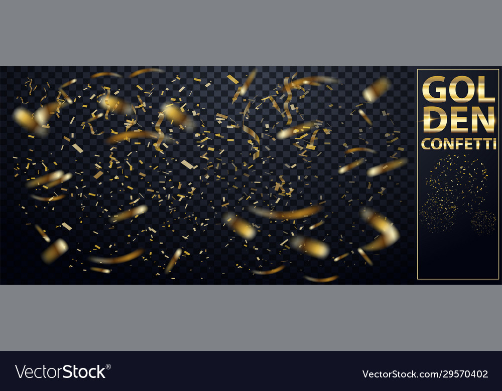 Falling shiny glitter gold confetti isolated on