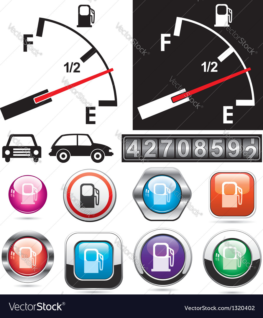 Gas gauge and icons of petrol station