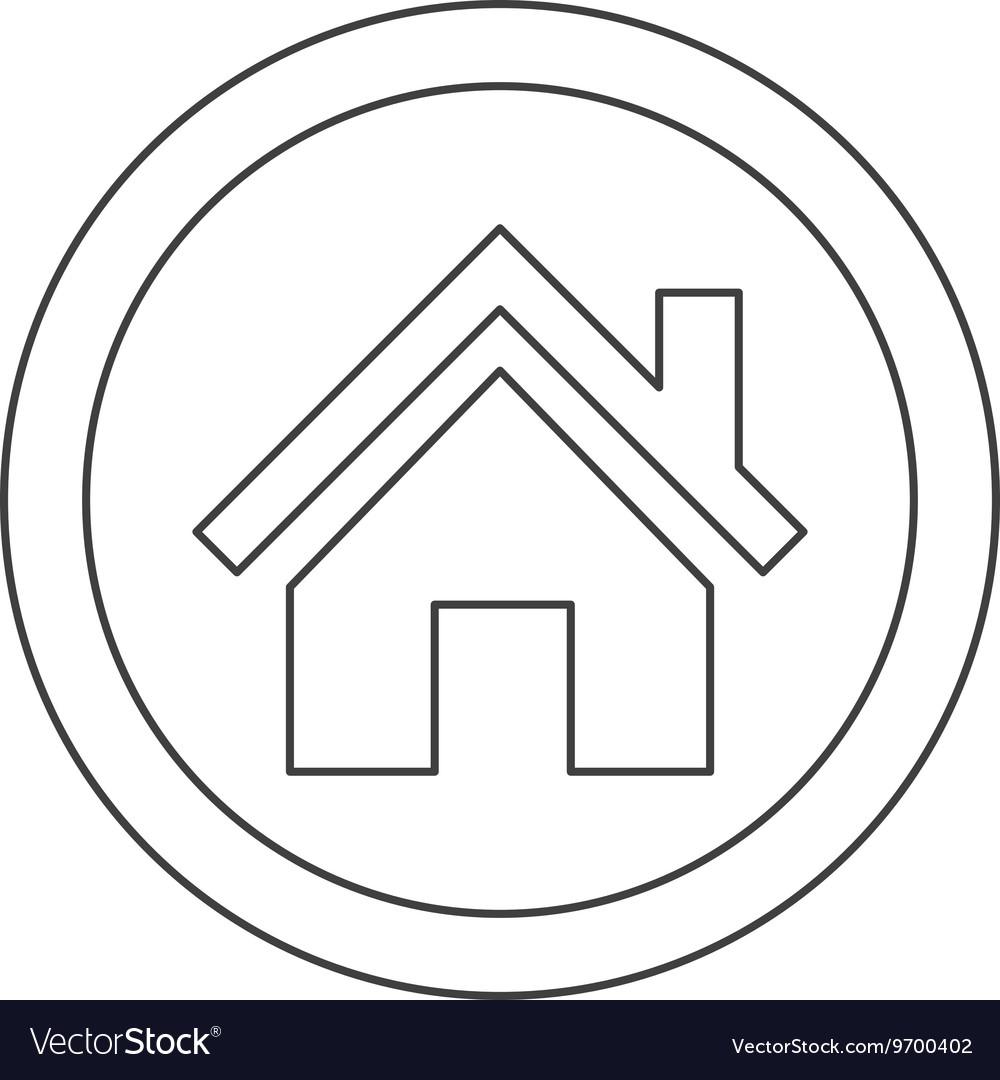 House pictogram inside circle icon