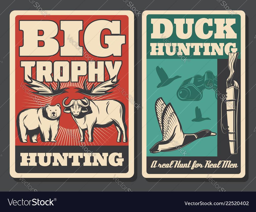 Hunting retro posters wild animal and bird