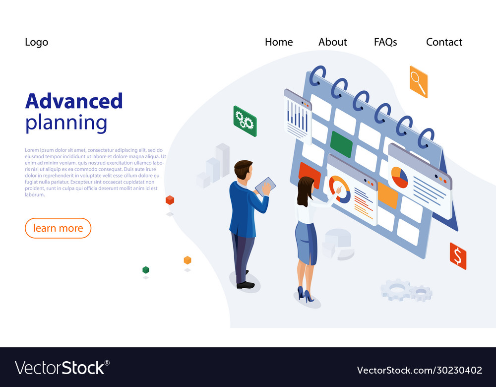 Planning schedule concept banner with business