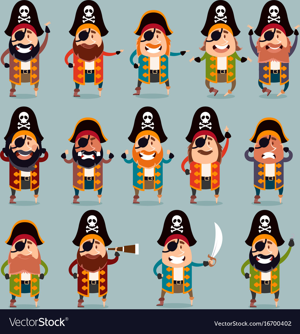 Set of flat pirate icons